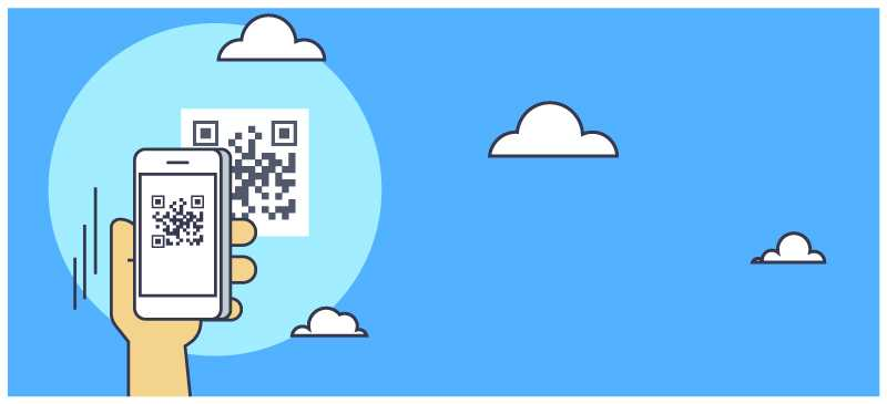 QR codes illustration hand holding phone scan outside mail clouds
