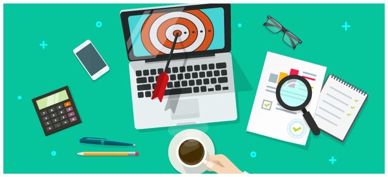 personalized promotions illustration computer target desk workspace phone pencil analyze graphs report data